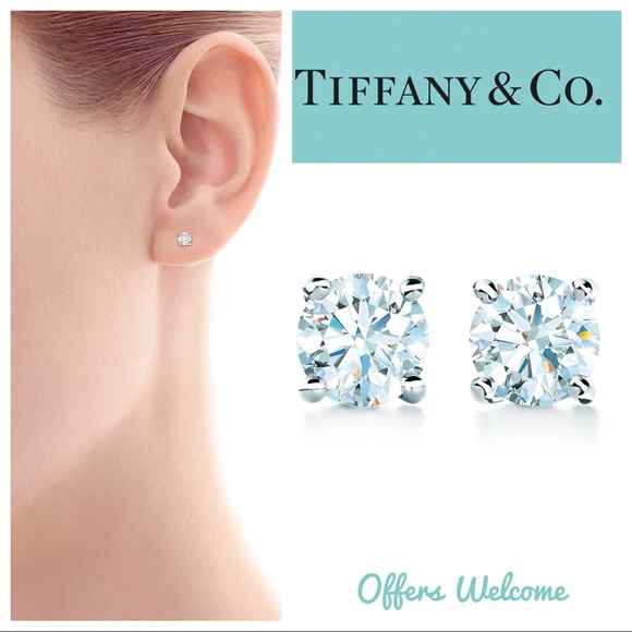 746b55e3af5 Tiffany Solitaire Diamond Earrings Platinum Studs.  M 5b59837e34e48ac36530c6f4